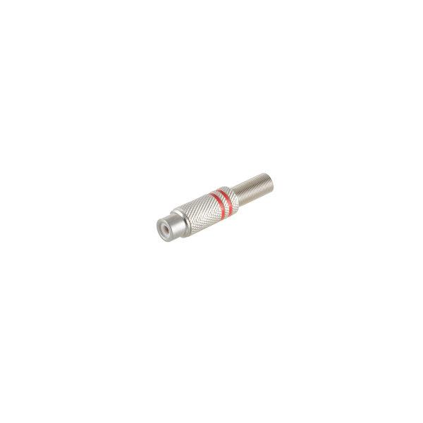 Conector RCA hembra metálico 6mm rojo