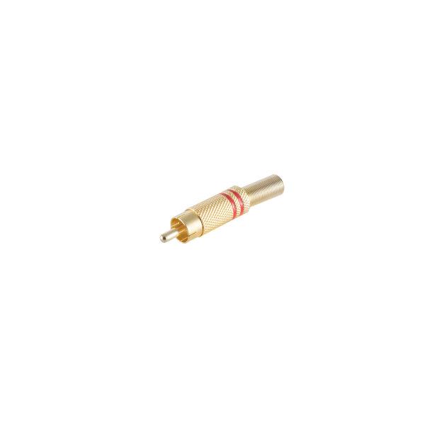 Conector RCA macho metálico chapado en oro 6mm rojo