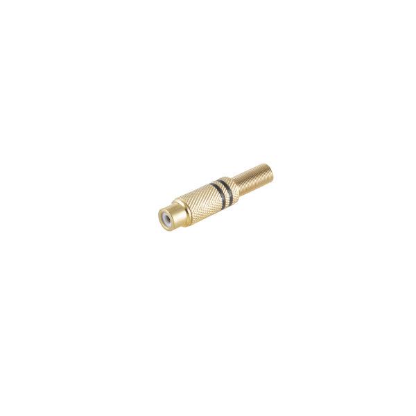 Conector RCA hembra metálico chapado en oro 6mm negro