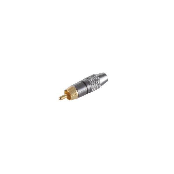 Conector RCA macho metálico bronce chapado en oro negro
