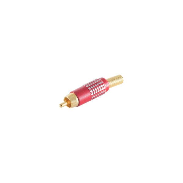 Conector RCA macho chapado en oro 6-8mm - superficie de agarre: aluminio rojo