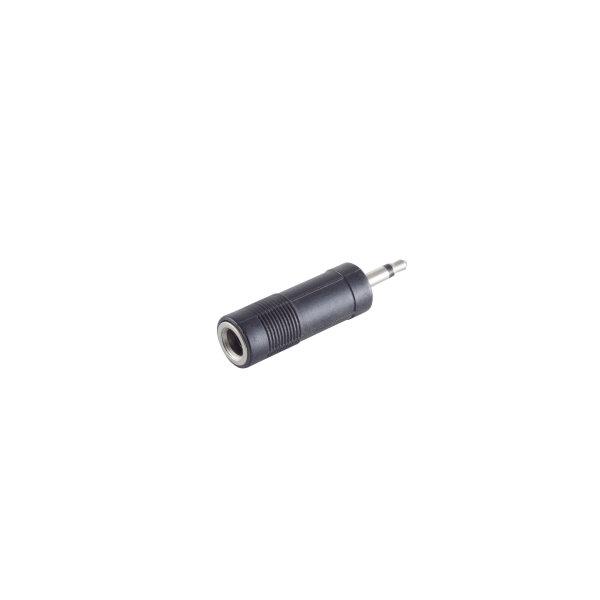 Conector adaptador - 3,5mm jack mono macho a jack 6,3mm estéreo hembra