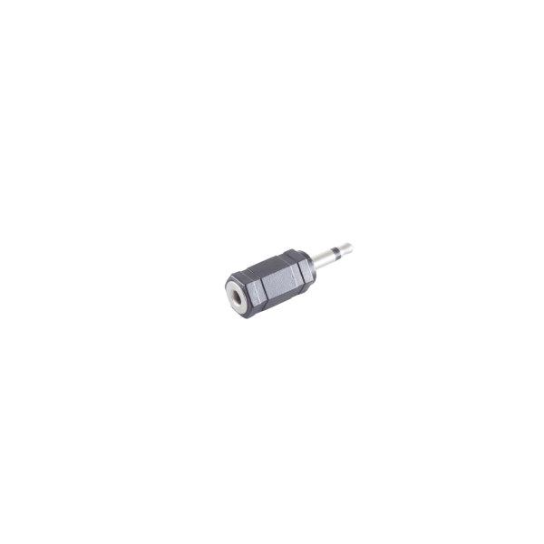 Conector adaptador - 3,5mm jack mono macho  a conector 3,5mm estéreo hembra
