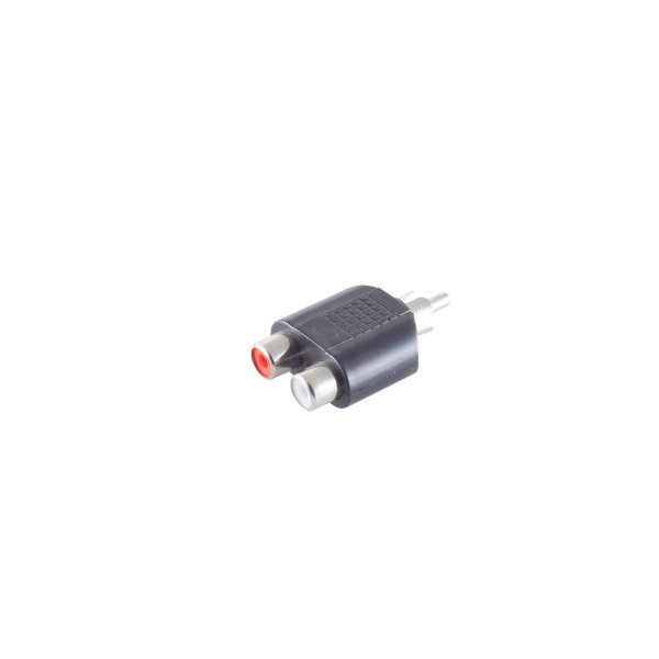 Conector adaptador - RCA macho a 2 RCA hembra