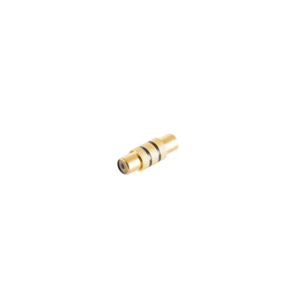 Conector adaptador - RCA hembra a RCA hembra metálico - contactos chapados en oro - negro