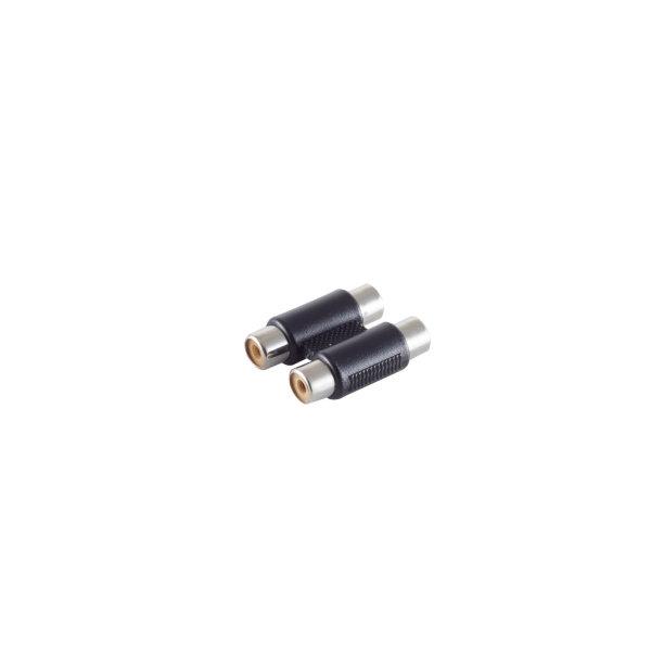 Conector adaptador - 2 RCA hembra a 2 RCA hembra