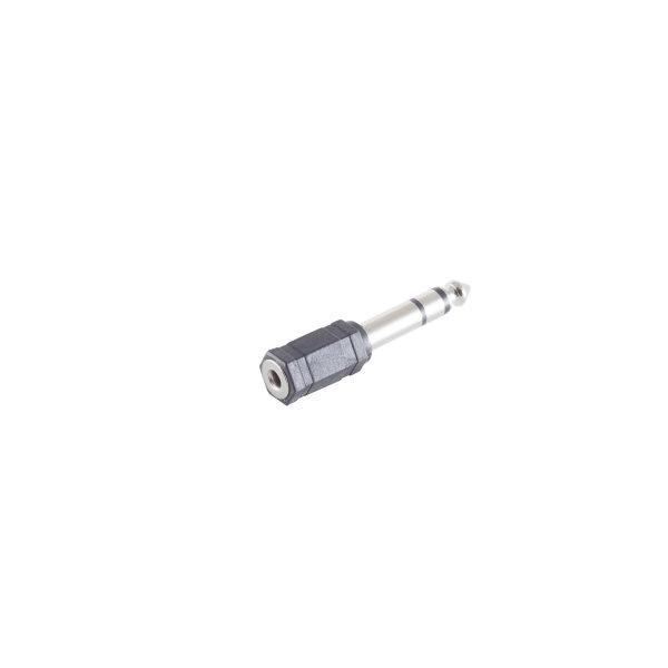 Conector adaptador - 6,3mm jack estéreo a 3,5mm jack estéreo hembra