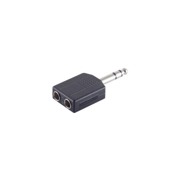 Conector adaptador - 6,3mm jack estéreo macho a 2 x 6,3mm jack estéreo hembra