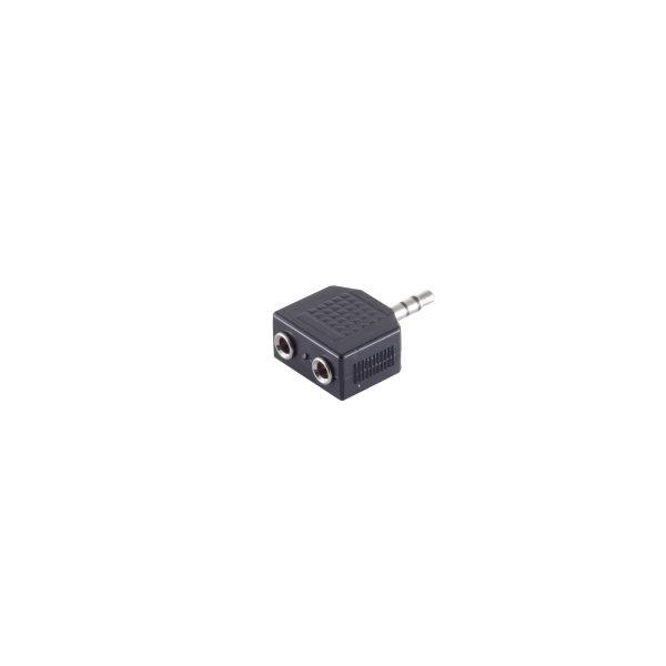 Conector adaptador - 3,5mm jack estéreo macho a 2 x 3,5mm jack estéreo hembra