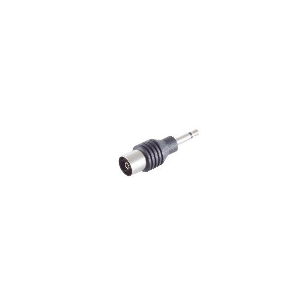 Conector adaptador - 3,5mm jack mono macho a coaxial hembra