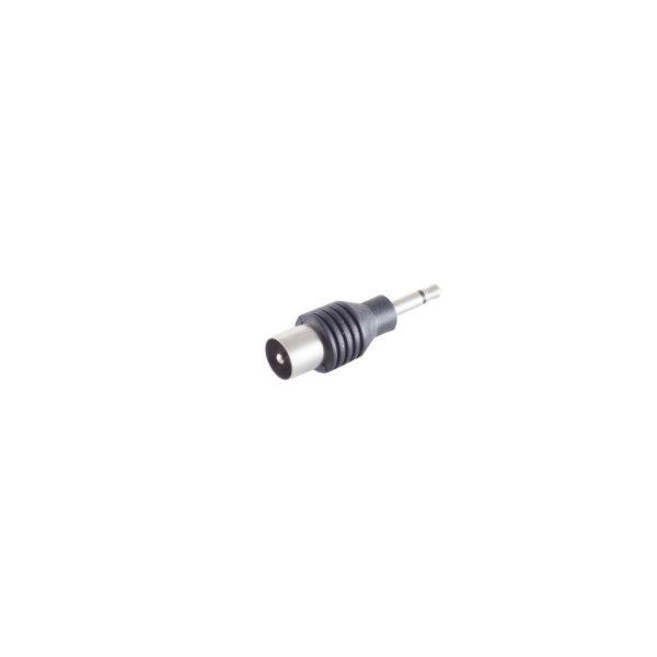 Conector adaptador - 3,5mm jack mono macho a coaxial macho
