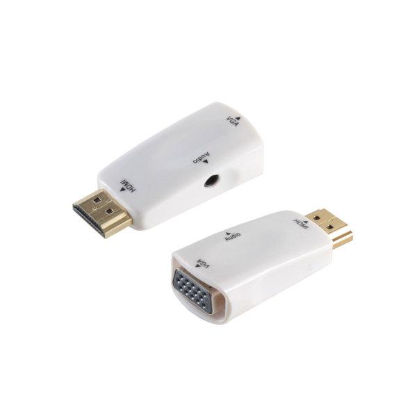 Adaptador HDMI/VGA - Conector HDMI macho a VGA hembra + 3,5mm jack hembra