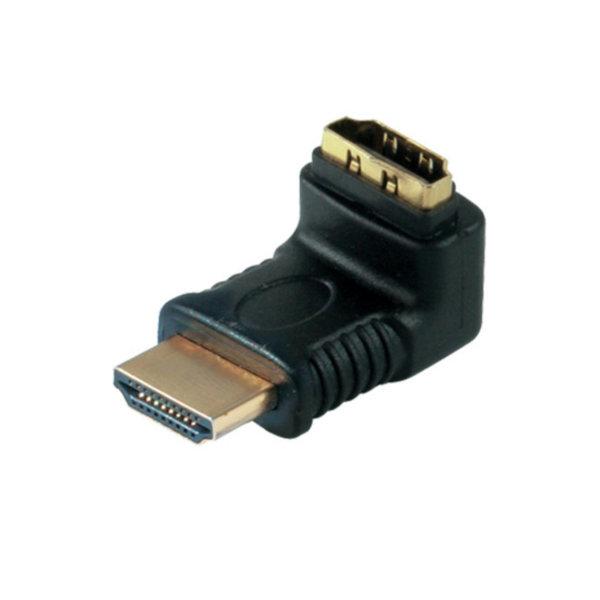 Adaptador HDMI - HDMI macho a HDMI hembra - ángulo recto - salida hacía arriba - contactos chapados en oro - compatible con 4K2K