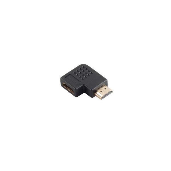 Adaptador HDMI - HDMI macho a HDMI hembra, versión angular 90° - contactos chapados en oro - compatible con 4K2K