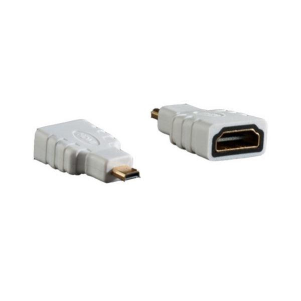 Adaptador HDMI - Conector HDMI-A hembra a HDMI-D micro macho  blanco  compatible con 4K2Kl