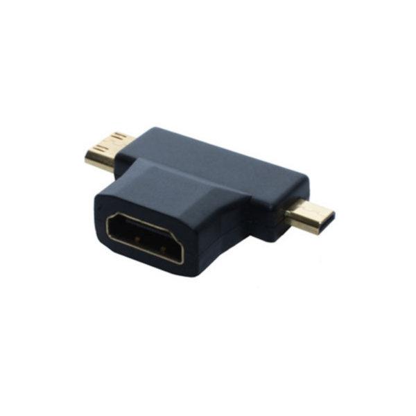 Adaptador HDMI - Conector HDMI-A hembra a HDMI-D + HDMI-C - contactos chapados en oro - compatible con 4K2Kl