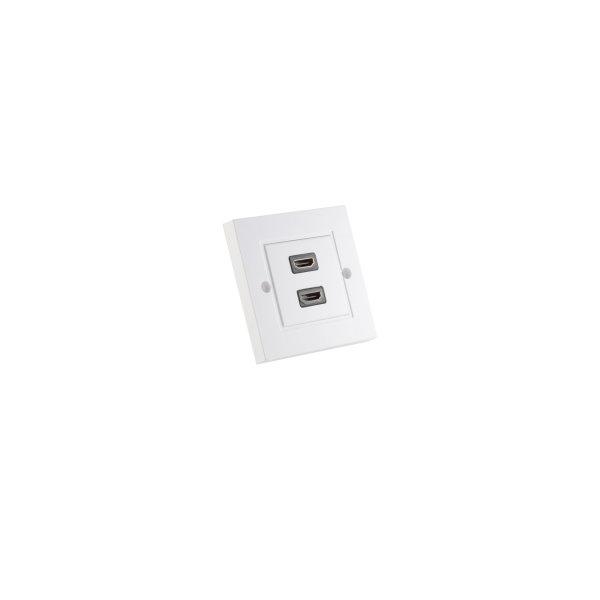 Enchufe de pared HDMI - Caja de pared con 2 conectores HDMI