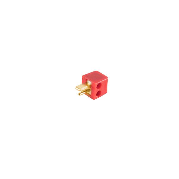 Conector altavoz - angular - macho atornillable  versión pequeña  rojo - chapado en oro
