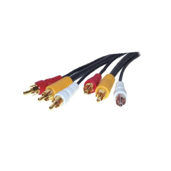 Cable RCA - 3 conectores RCA macho a 3 RCA macho - 1 video, 2x audio  - chapado en oro  2m