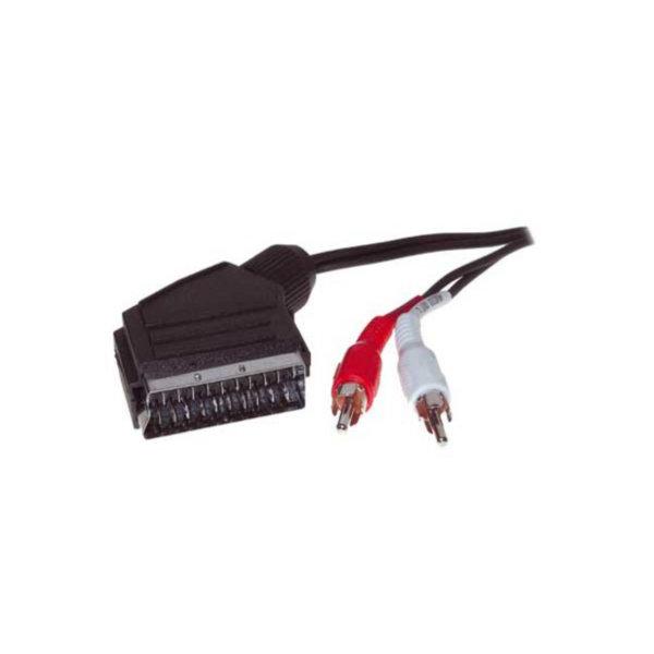 Cable Scart/RCA - Conector Scart a 2 conectores RCA macho (para Audio)  2m