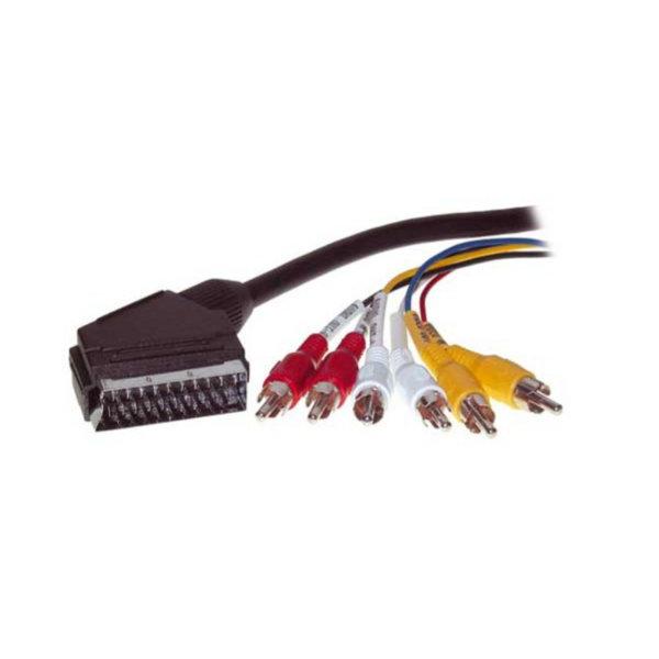 Cable Scart/RCA -C onector Scart a 6 RCA macho  tensión de conmutación  2m