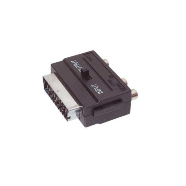 Conector Scart/RCA - Conector audio Scart macho a 3 RCA hembra con interruptor ENTRADA/ SALIDA