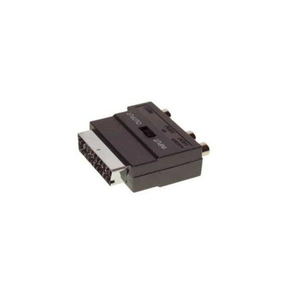 Conector Scart/RCA/mini-DIN - Conector audio Scart macho con 3 RCA hembra a 4 pines MINI DIN hembra con interruptor ENTRADA/ SALIDA