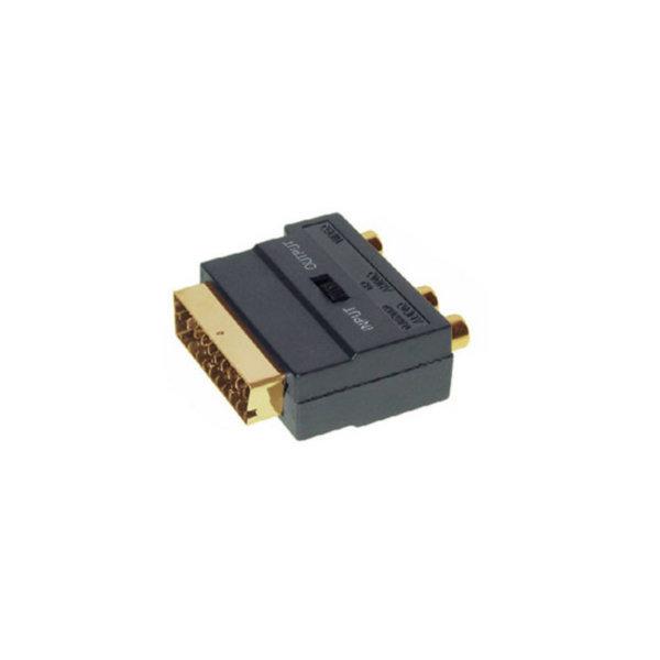Conector Scart/RCA/mini-DIN - Conector audio Scart macho con 3 RCA hembra a 4 pines MINI DIN hembra con interruptor ENTRADA/ SALIDA  contactos chapados en oro
