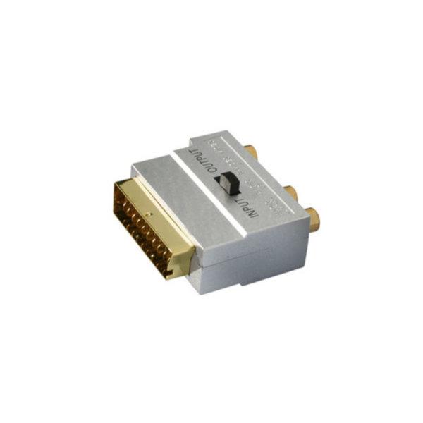 Conector Scart/RCA/mini-DIN - Conector audio Scart macho con 3 RCA hembra a 4 pines MINI DIN hembra con interruptor ENTRADA/ SALIDA  de alta calidad y carcasa metálica