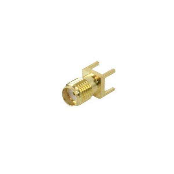 Conector SMA - Conector hembra, montaje THT (tecnología de agujeros pasantes), chapado en oro