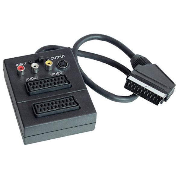 Adaptador Video/ Audio -Conector Scart macho a 2 Scart hembra y S-VHS hembra y 3 RCA hembra con interruptor IN/OUT  0,2m