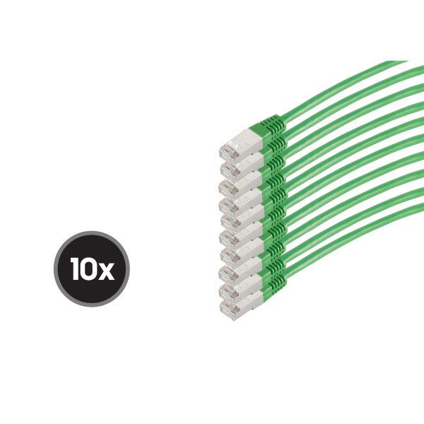 Cable de red RJ45 CAT 6  S/FTP  PIMF  libre de halógenos (10 Unidades)  verde  0,25m