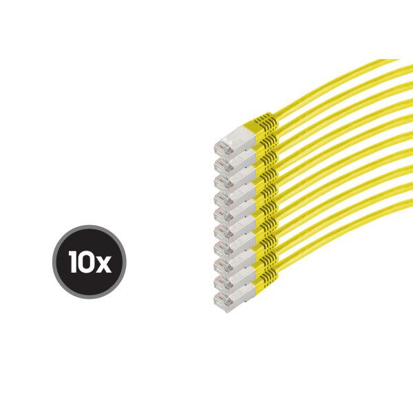 Cable de red RJ45 CAT 6  S/FTP  PIMF  libre de halógenos (10 Unidades)  amarillo  0,25m