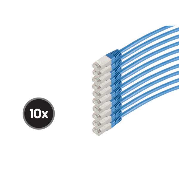 Cable de red RJ45 CAT 6  S/FTP  PIMF  libre de halógenos (10 Unidades)  azul  0,5m