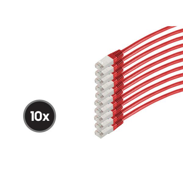 Cable de red RJ45 CAT 6  S/FTP  PIMF  libre de halógenos (10 Unidades)  rojo  0,5m