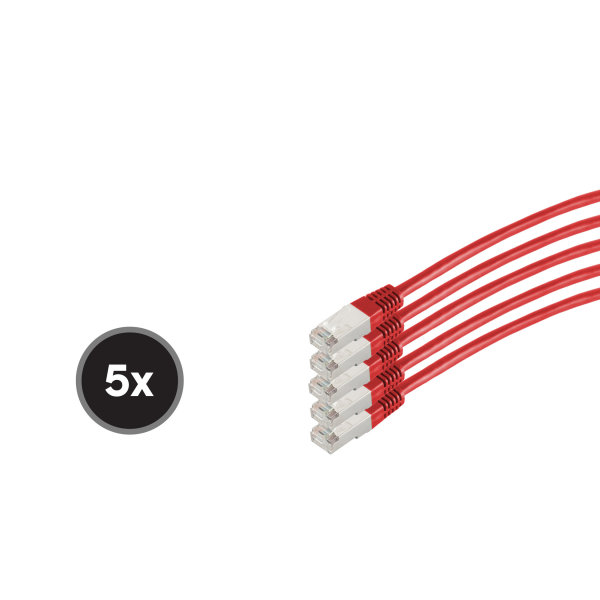 Cable de red RJ45 CAT 6  S/FTP  PIMF  libre de halógenos (5 Unidades)  rojo  0,5m