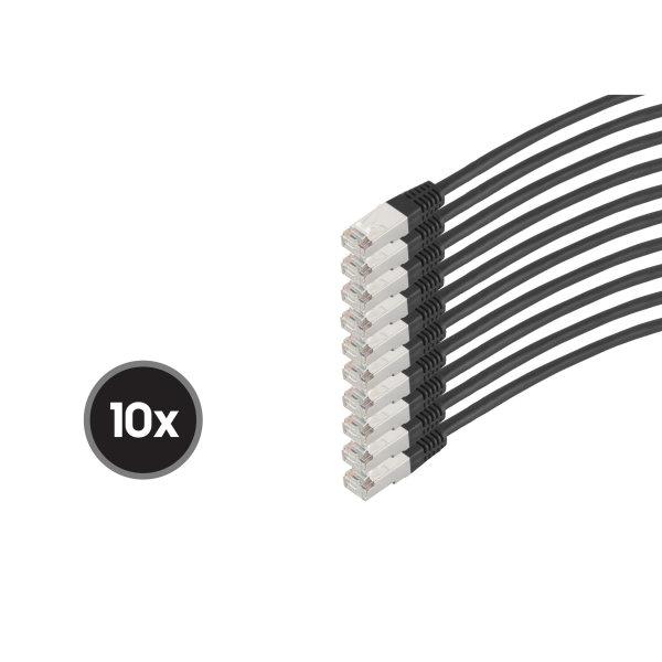 Cable de red RJ45 CAT 6  S/FTP  PIMF  libre de halógenos (10 Unidades)  negro  0,5m