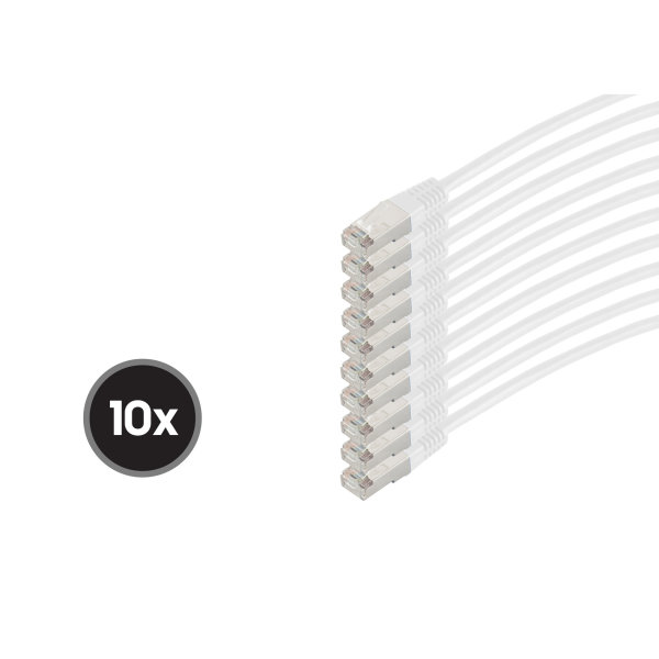 Cable de red RJ45 CAT 6  S/FTP  PIMF  libre de halógenos (10 Unidades) blanco  0,5m