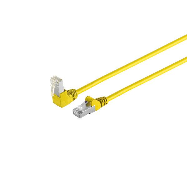Cable de red RJ45 CAT 6 S/FTP PIMF angulado-recto amarillo 0,5m