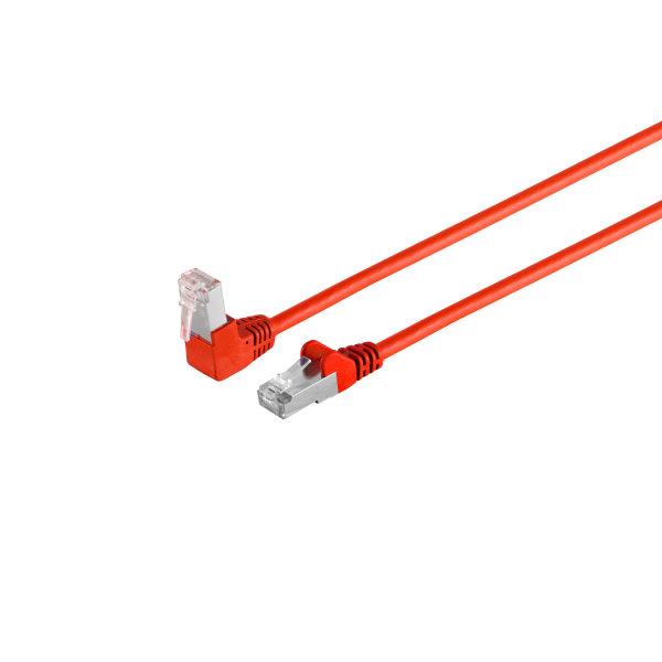 Cable de red RJ45 CAT 6 S/FTP PIMF angulado-recto rojo 0,5m