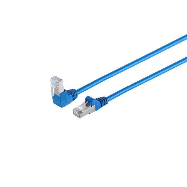 Cable de red RJ45 CAT 6 S/FTP PIMF angulado-recto azul 20m