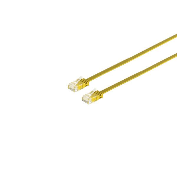 Cable de red Rj45 CAT 6 U/UTP plano amarillo 0,25m