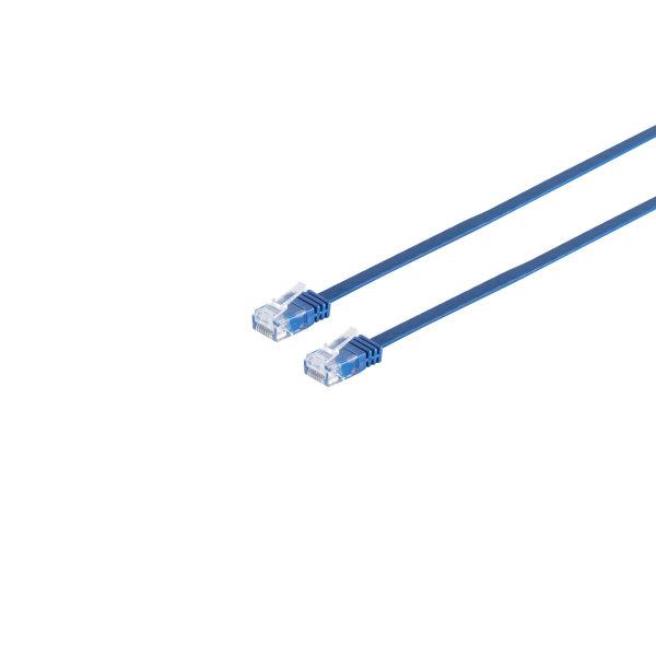 Cable de red Rj45 CAT 6 U/UTP plano azul 0,5m