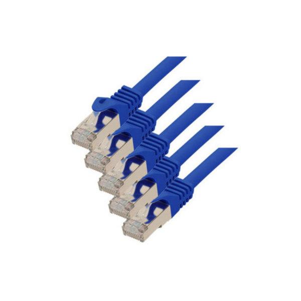 Cable de red RJ45 CAT 7 S/FTP PIMF libre de halógenos (5 unidades) azul 0,25m