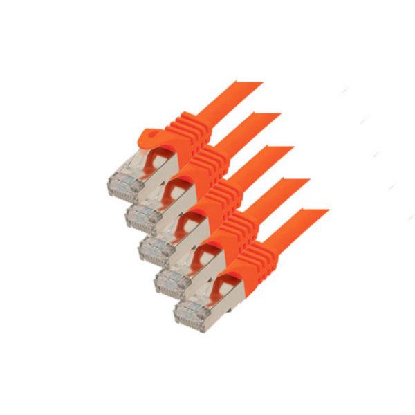 Cable de red RJ45 CAT 7 S/FTP PIMF libre de halógenos (5 unidades), naranja 0,25m