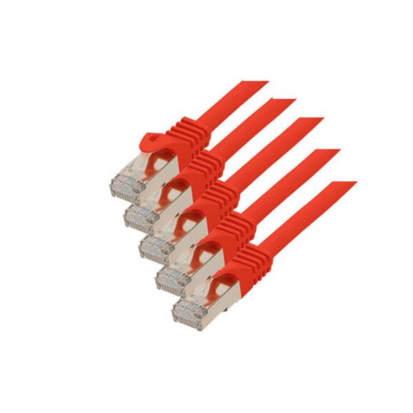 Cable de red RJ45 CAT 7 S/FTP PIMF libre de halógenos (5 unidades) rojo 0,25m