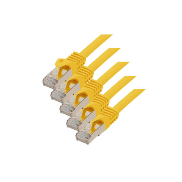 Cable de red RJ45 CAT 7 S/FTP PIMF libre de halógenos (5 unidades) amarillo 0,25m