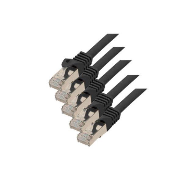 Cable de red RJ45 CAT 7 S/FTP PIMF libre de halógenos (5 unidades) negro 0,5m