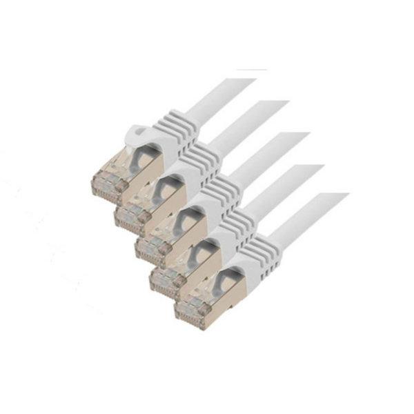 Cable de red RJ45 CAT 7 S/FTP PIMF libre de halógenos (5 unidades) blanco 0,5m