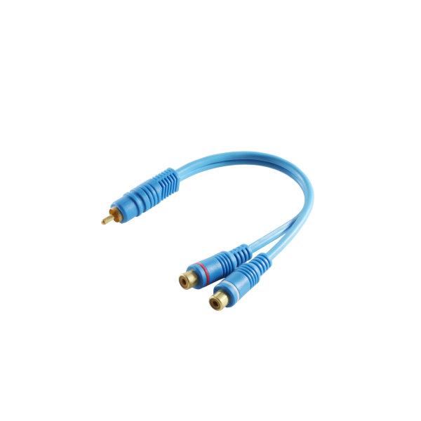 Cable RCA - Alargador - Conector RCA macho a 2 RCA hembra - doble blindaje - azul  0,2m